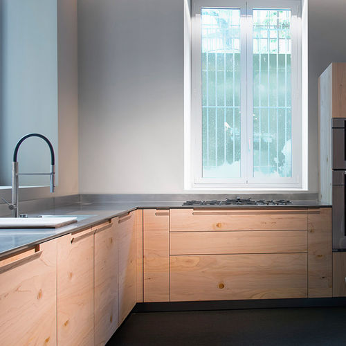 contemporary kitchen / beech / steel / L-shaped