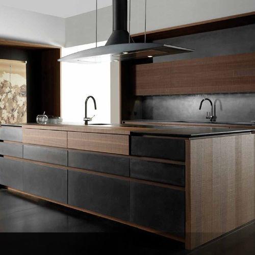 contemporary kitchen / wooden / cement / island