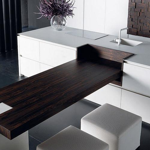 contemporary kitchen / wooden / concrete / island