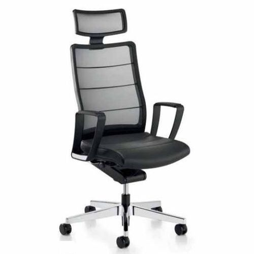 contemporary executive chair / mesh / leather / swivel