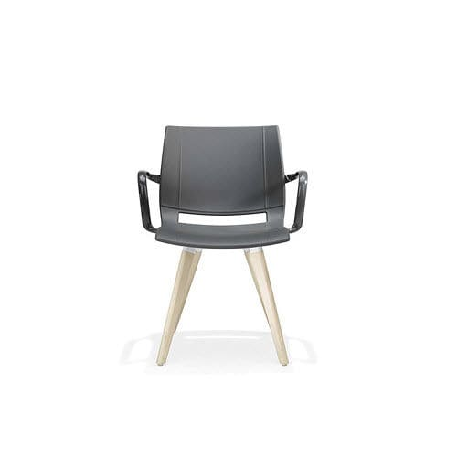contemporary restaurant chair / with armrests / wooden / metal