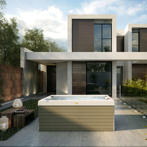 Above-ground hot tub / rectangular / 3-seater / outdoor UNIQUE by Carlo Urbinati Jacuzzi®