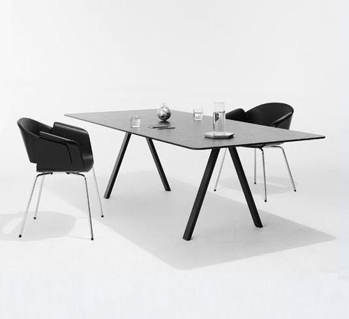 contemporary boardroom table / steel / oak / rectangular