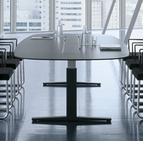 contemporary boardroom table / melamine / rectangular / oval