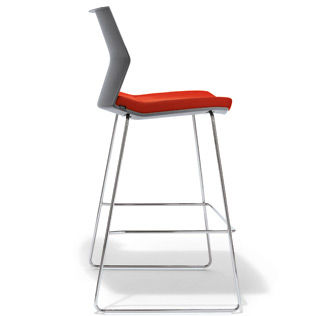 Contemporary bar chair / upholstered / with footrest / sled base B_SIDE by b4K Andreas Krob Bene GmbH