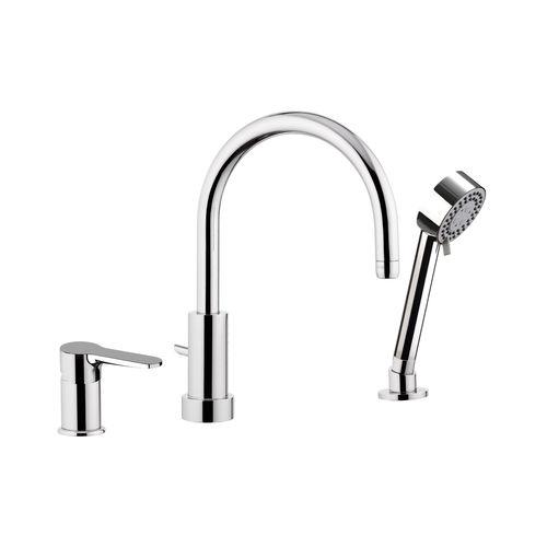bathtub mixer tap / built-in / chromed metal / chrome-plated brass