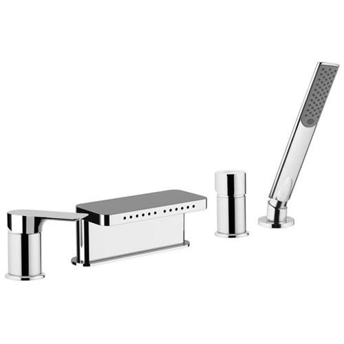 shower mixer tap / for bathtubs / built-in / chromed metal