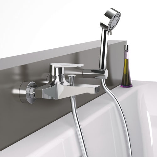 bathtub mixer tap / shower / wall-mounted / chromed metal