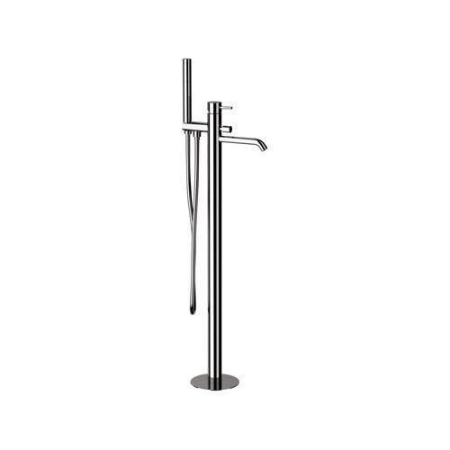 bathtub mixer tap / floor-mounted / chrome-plated brass / bathroom