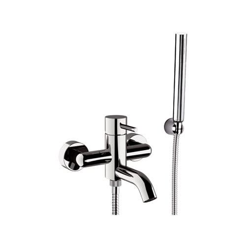 shower mixer tap / for bathtubs / wall-mounted / chrome-plated brass
