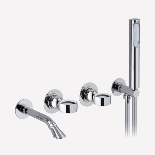 double-handle bathtub mixer tap / wall-mounted / chromed metal / bathroom