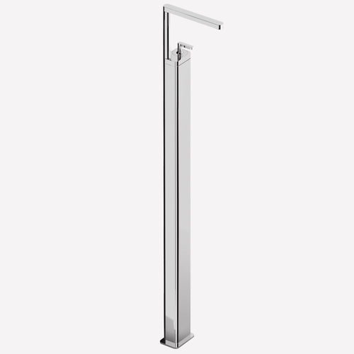 washbasin mixer tap / floor-mounted / chromed metal / bathroom