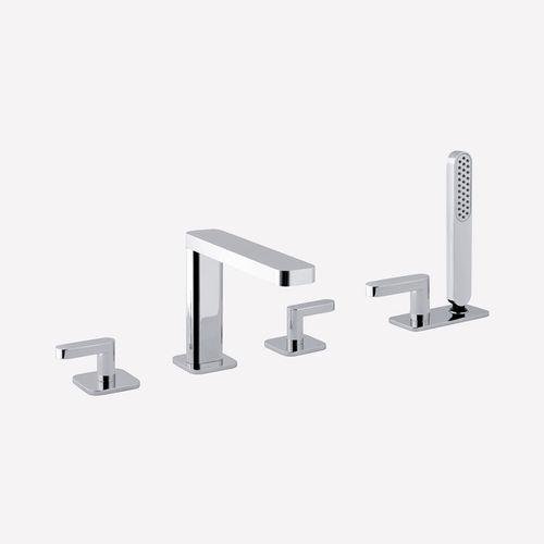 double-handle bathtub mixer tap / free-standing / chromed metal / bathroom
