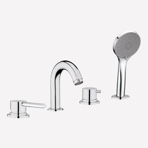 double-handle bathtub mixer tap / free-standing / brass / bathroom