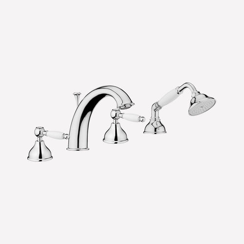 double-handle bathtub mixer tap / free-standing / brass / bathroom