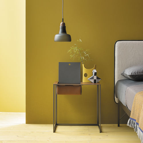 Contemporary bedside table / painted steel / leather / rectangular TASCHINO by Gabriele Rosa Zanotta
