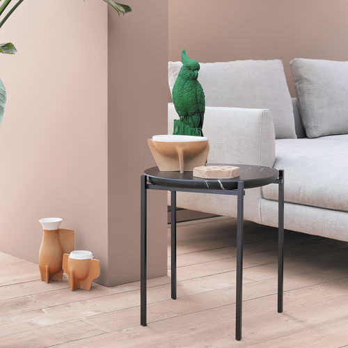 contemporary side table / steel / marble / polyester
