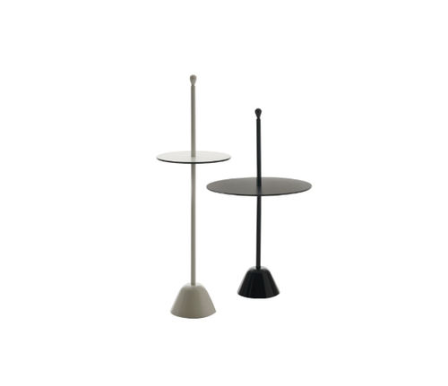 contemporary side table / steel / laminate / polypropylene