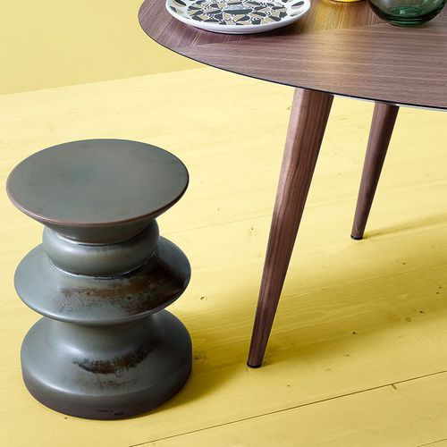 original design side table / porcelain / round / garden