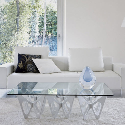 original design coffee table / plywood / oak / tempered glass