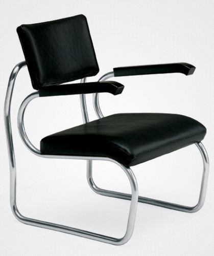 contemporary armchair / leather / stainless steel / with armrests