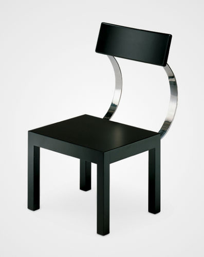 Contemporary chair / stainless steel / black FOLLIA by Giuseppe Terragni Zanotta