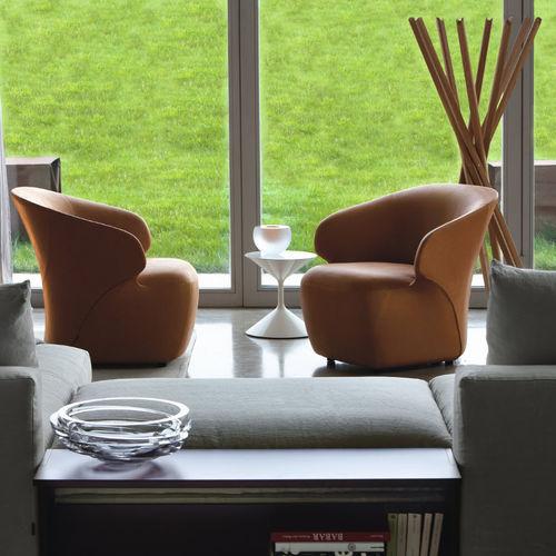contemporary armchair / fabric / leather / nylon