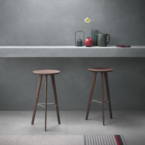 contemporary bar stool / oak / walnut / stainless steel