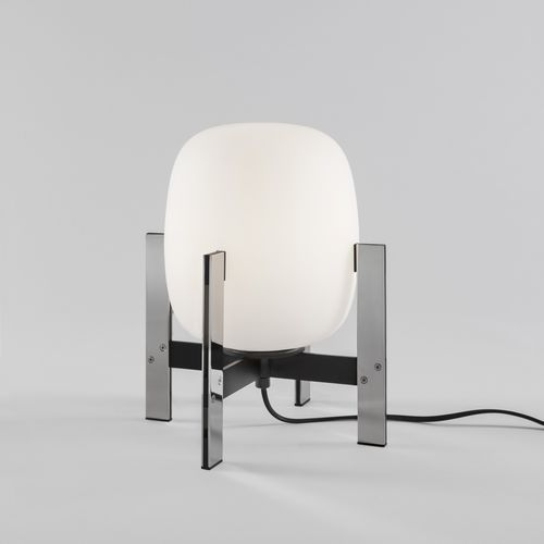 table lamp / contemporary / stainless steel / opalescent glass