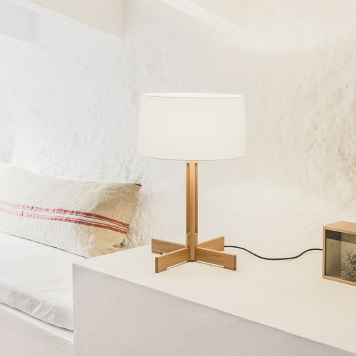 Table lamp / contemporary / linen / oak FAD by Miguel Milá Santa & Cole