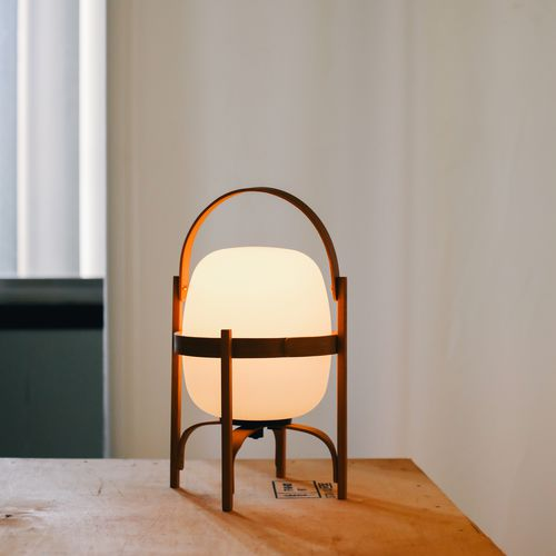 portable lamp / original design / opalescent glass / cherrywood
