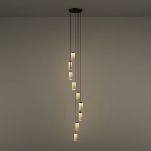 pendant lamp / contemporary / polished brass / opalescent glass