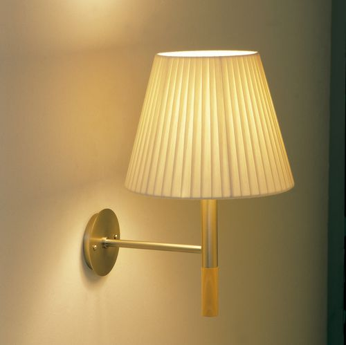 traditional wall light / metal / beech / fabric