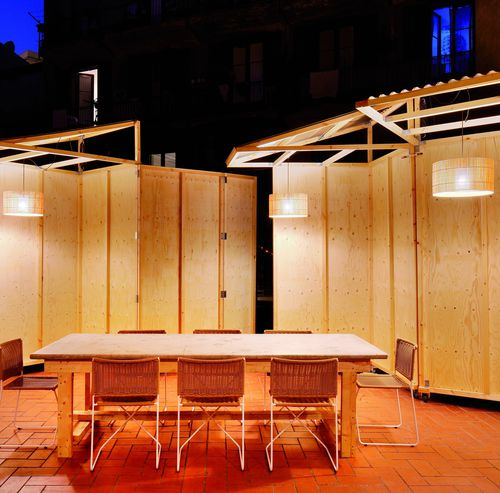pendant lamp / industrial design / wooden / LED