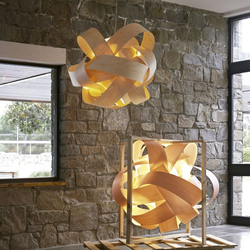 Pendant lamp / original design / birch / LED LEONARDO by Antoni Arola Santa & Cole