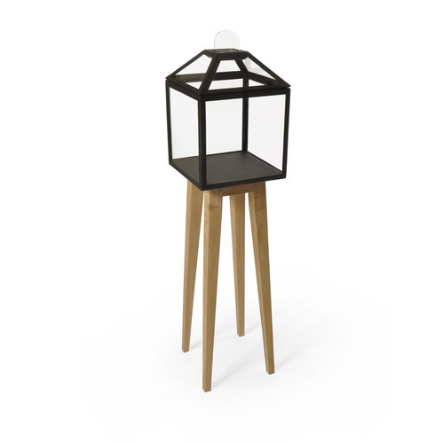 contemporary display case / with long legs / oak / glass