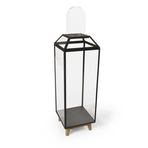 contemporary display case / with legs / oak / glass