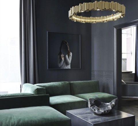 hanging light fixture / LED / round / anodized aluminum