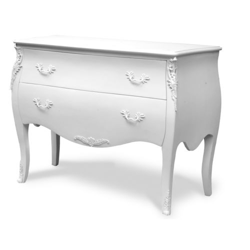 New Baroque design chest of drawers / PU / brown / white
