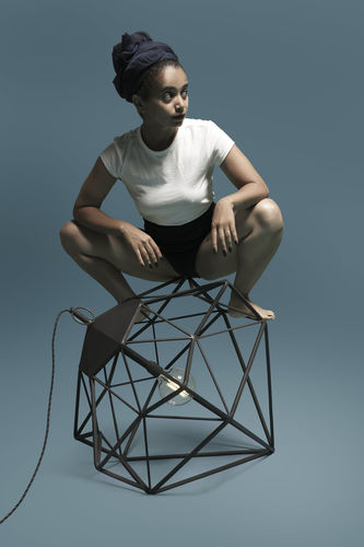portable lamp / contemporary / steel / black