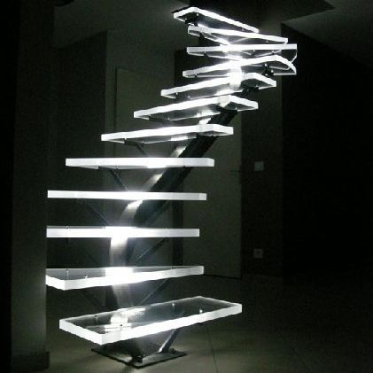 Helical staircase / steps in acrylic / metal frame / without risers Polimer Tecnic
