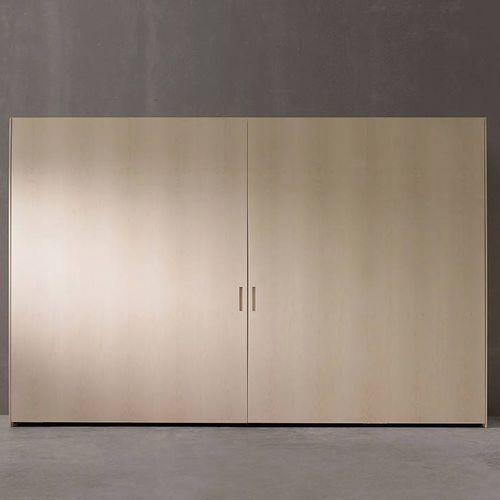 contemporary wardrobe / lacquered wood / sliding door