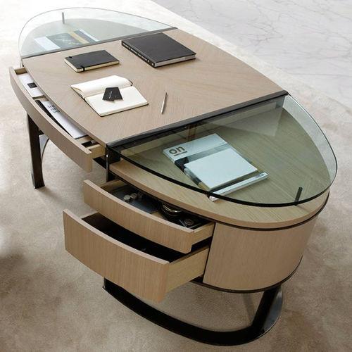 walnut desk / ash / glass / contemporary