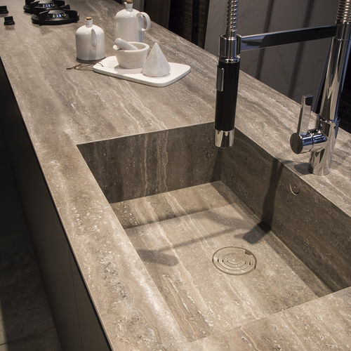 Porcelain stoneware countertop / outdoor / heat-resistant / stain-proof GEO ITOPKER GRIS BUSH-HAMMERED INALCO