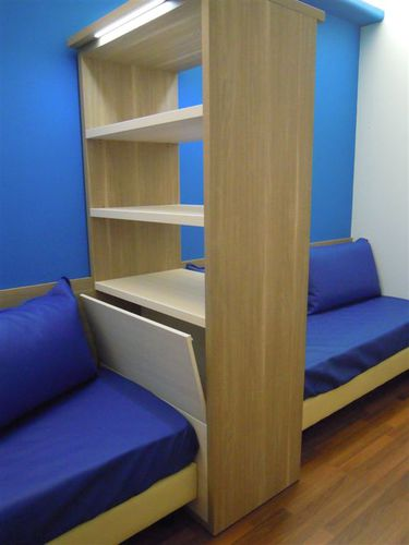 contemporary bookcase / for hotel rooms / wooden
