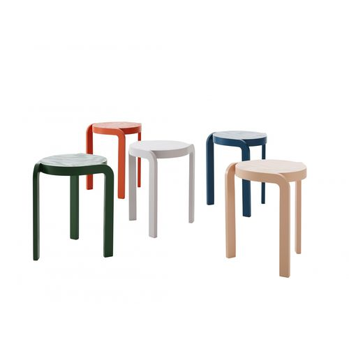 contemporary stool / ash / stackable / upholstered