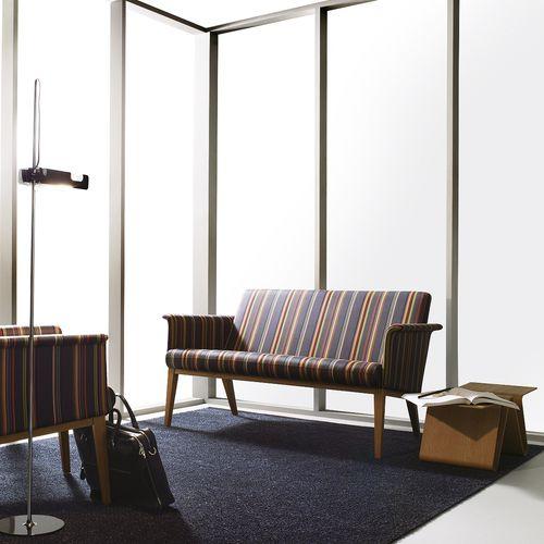 contemporary upholstered bench / fabric / oak / beech