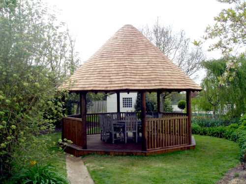 Wood gazebo / tiled coverings 3.8M PREMIUM The Lapa Company   The Lapa Company