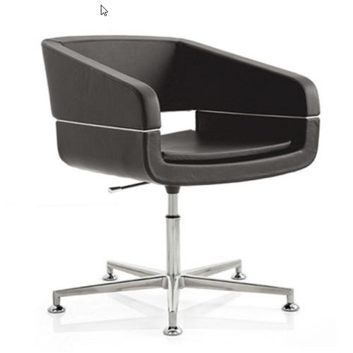 contemporary visitor chair / upholstered / swivel / star base