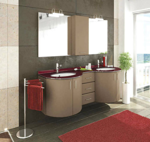 double washbasin cabinet / wall-hung / crystal / contemporary
